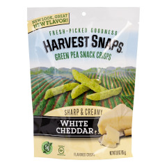 CALBEE HARVEST SNAPS WHITE CHEDDAR GREEN PEA CRISPS 3 OZ POUCH
