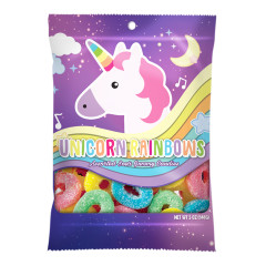 AMUSEMINTS UNICORN RAINBOW SOUR GUMMY LOOMS 5 OZ PEG BAG