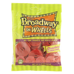 GUSTAF'S BROADWAY WHEELS STRAWBERRY 5.29 OZ PEG BAG