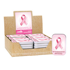 AMUSEMINTS BREAST CANCER AWARENESS PINK RIBBON PEPPERMINT MICRO MINTS 2 OZ TIN