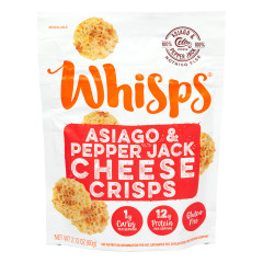 CELLO WHISPS ASIAGO AND PEPPER JACK CHEESE CRISPS 2.12 OZ BAG