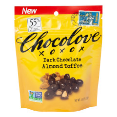 CHOCOLOVE DARK CHOCOLATE ALMOND TOFFEE 4.5 OZ POUCH