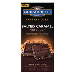 GHIRARDELLI INTENSE DARK CHOCOLATE SEA SALT CARAMEL CASCADE 3.5 OZ BAR