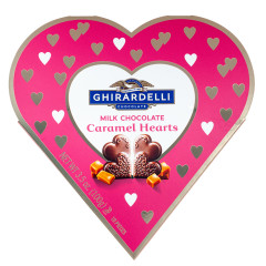 GHIRARDELLI HEART MILK CHOCOLATE CARAMEL HEARTS 3.5 OZ BOX