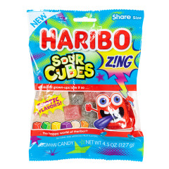 HARIBO ZING SOUR CUBES 4.5 OZ PEG BAG
