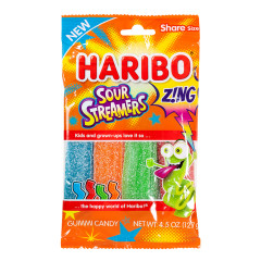 HARIBO ZING SOUR STREAMERS 4.5 OZ PEG BAG