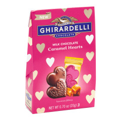 GHIRARDELLI MILK CARAMEL HEARTS .7 OZ EXTRA SMALL BAG