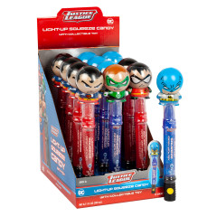 DC COMICS JUSTICE LEAGUE LIGHT UP SQUEEZE CANDY AND TOY 0.67 OZ