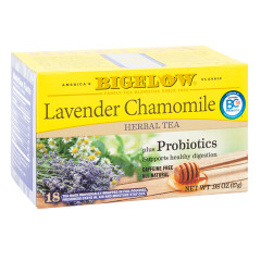 BIGELOW LAVENDER CHAMOMILE TEA WITH PROBIOTICS 18 CT BOX