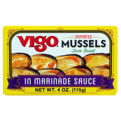 VIGO MUSSELS IN MARINADE SAUCE 4 OZ TIN