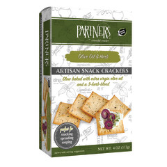 PARTNER'S CLASSIC ALL NATURAL OLIVE OIL & HERB CRACKERS 4 OZ BOX