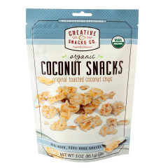 CREATIVE SNACKS ORGANIC TOASTED COCONUT CHIPS 3 OZ PEG BAG