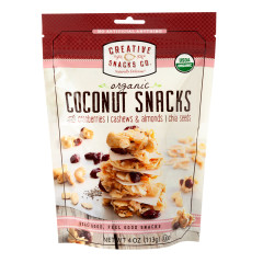 CREATIVE SNACKS ORGANIC COCONUT SNACK WITH CRANBERRY & NUTS 4 OZ PEG BAG