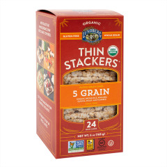 LUNDBERG ORGANIC THIN STACKERS FIVE GRAIN RICE CAKES 6 OZ BOX