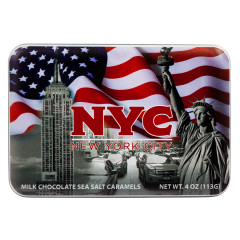 NYC SOUVENIR AMERICAN FLAG MILK CHOCOLATE SEA SALT CARAMEL 4.02 OZ TIN