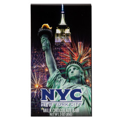 NYC SOUVENIR LIBERTY FIREWORK 3 OZ MILK CHOCOLATE WRAPPER BAR