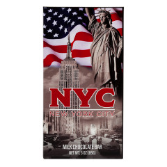 NYC SOUVENIR AMERICAN FLAG 3 OZ MILK CHOCOLATE WRAPPER BAR