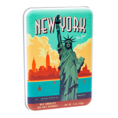 NYC SOUVENIR STATUE OF LIBERTY MILK CHOCOLATE SEA SALT CARAMEL 4.02 OZ TIN