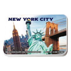 NYC SOUVENIR NYC COLLAGE MILK CHOCOLATE SEA SALT CARAMEL 4.02 OZ TIN