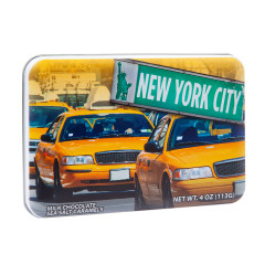 NYC SOUVENIR TAXI MILK CHOCOLATE SEA SALT CARAMEL 4.02 OZ TIN