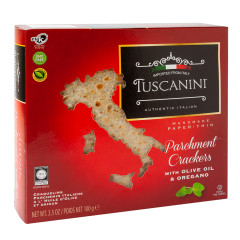 TUSCANINI CRACKERS WITH OLIVE OIL & OREGANO 3.5 OZ BOX