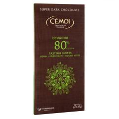 CEMOI SUPER DARK CHOCOLATE 80% COCOA ECUADOR 3 OZ BAR