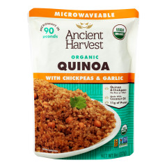 ANCIENT HARVEST MICROWAVEABLE ORGANIC CHICKPEA & GARLIC  QUINOA 8 OZ POUCH