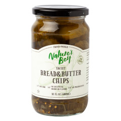 NATURE'S BEST SWEET BREAD & BUTTER CHIPS 16 OZ JAR