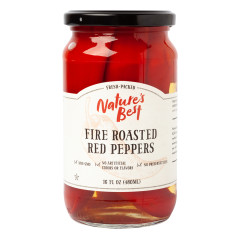 NATURE'S BEST FIRE ROASTED RED PEPPERS 16 OZ JAR