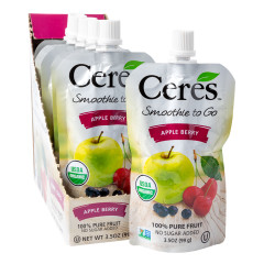 CERES ORGANIC APPLE BERRY SMOOTHIE TO GO 3.5 OZ POUCH