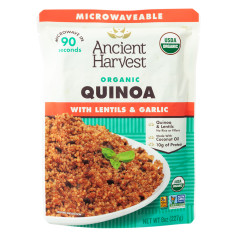 ANCIENT HARVEST MICROWAVABLE ORGANIC QUINOA WITH LENTIL AND GARLIC 8 OZ POUCH