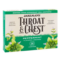 JAKEMANS THROAT & CHEST PEPPERMINT COUGH DROPS 24 PC 3 OZ BOX