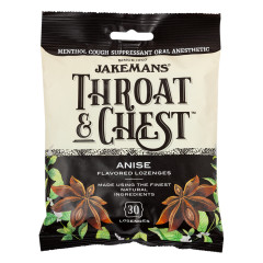 JAKEMANS THROAT & CHEST ANISE COUGH DROPS 30 PC 4 OZ PEG BAG