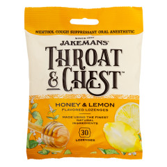 JAKEMANS THROAT & CHEST HONEY LEMON COUGH DROPS 30 PC 4 OZ PEG BAG