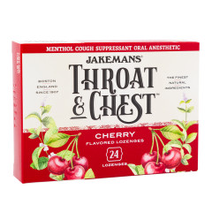 JAKEMANS THROAT & CHEST CHERRY COUGH DROPS 24 PC 3 OZ BOX