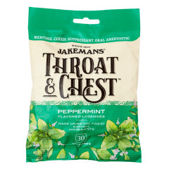 JAKEMANS THROAT & CHEST PEPPERMINT COUGH DROPS 30 PC 4 OZ PEG BAG