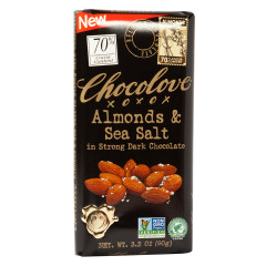 CHOCOLOVE STRONG DARK CHOCOLATE ALMONDS AND SEA SALT 3.2 OZ