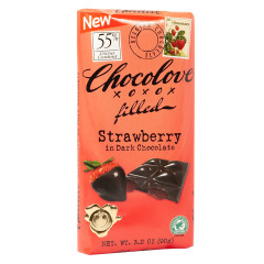 CHOCOLOVE DARK CHOCOLATE STRAWBERRY 3.2 OZ BAR