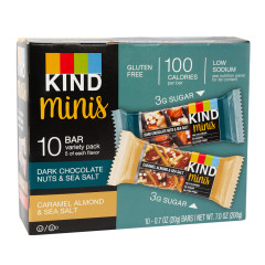 KIND MINIS DARK CHOCOLATE NUTS & SEA SALT AND CARAMEL, ALMOND & SEA SALT 0.7 OZ BARS 10 CT VARIETY PACK