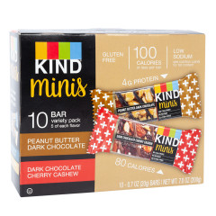 KIND MINIS PEANUT BUTTER DARK CHOCOLATE AND DARK CHERRY CASHEW 0.7 OZ BARS 10 CT VARIETY PACK