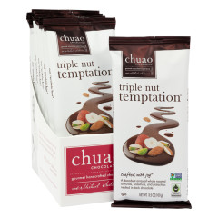 CHUAO DARK CHOCOLATE TRIPLE NUT TEMPTATION 3.5 OZ BAR