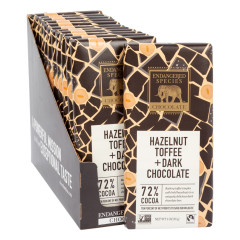 ENDANGERED SPECIES DARK CHOCOLATE WITH HAZELNUT TOFFEE 3 OZ BAR