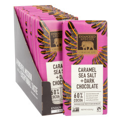 ENDANGERED SPECIES DARK CHOCOLATE WITH CARAMEL AND SEA SALT 3 OZ BAR