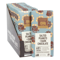 ENDANGERED SPECIES DARK CHOCOLATE WITH SALTED PEANUTS 3 OZ BAR