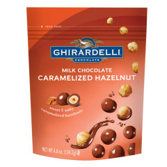 GHIRARDELLI MILK CHOCOLATE CARAMELIZED HAZELNUT 4.8 OZ POUCH