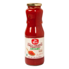 DE RICA ORGANIC FINELY CHOPPED TOMATOES 24.7 OZ BOTTLE