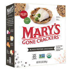 MARY'S GONE CRACKERS BLACK PEPPER CRACKERS 6.5 OZ BOX