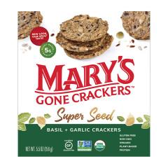 MARY'S GONE CRACKERS SUPER SEED BASIL & GARLIC CRACKER 5.5 OZ BOX