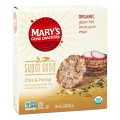 MARY'S GONE CRACKERS SUPER SEED CHIA & HEMP CRACKER 5.5 OZ BOX