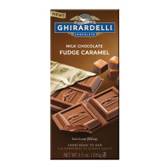 GHIRARDELLI MILK CHOCOLATE FUDGE CARAMEL 3.5 OZ BAR
